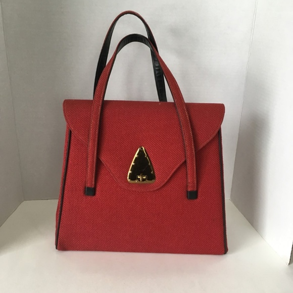 National Handbags - Art Deco Handbag National Canadian Made Red Canvas